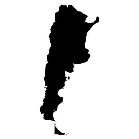 Argentina Black Silhouette Map Outline Isolated on White 3D Illustration Imagens
