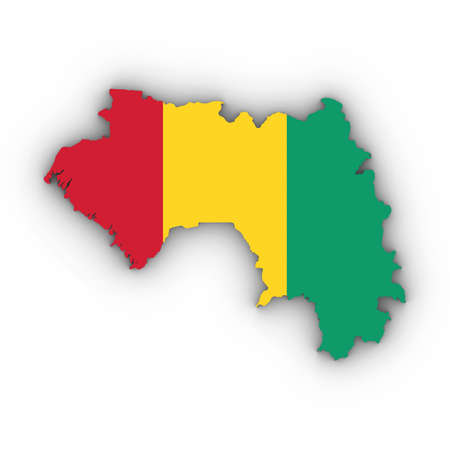 Guinea Map Outline with Guinean Flag on White with Shadows 3D Illustration