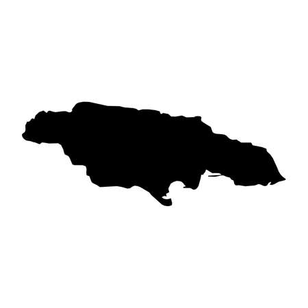 Jamaica Black Silhouette Map Outline Isolated on White 3D Illustration Imagens