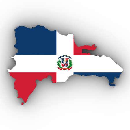 Dominicaanse Republiek Kaart overzicht met Dominicaanse Vlag op Wit met Schaduwen 3D Illustratie Stockfoto