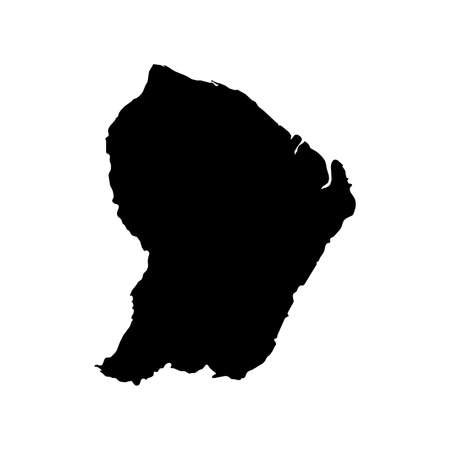 French Guiana Black Silhouette Map Outline Isolated on White 3D Illustration Imagens