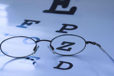 eye test: optometrist eye test chart blue