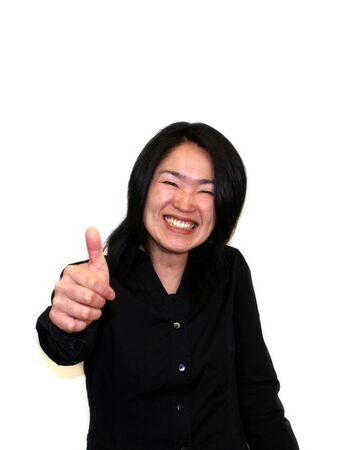 woman with thumbs up Stock Photo