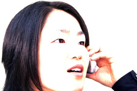 overexposed: overexposed woman on phone Stock Photo