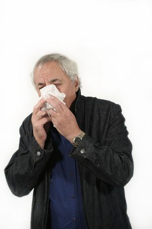senior sneezing