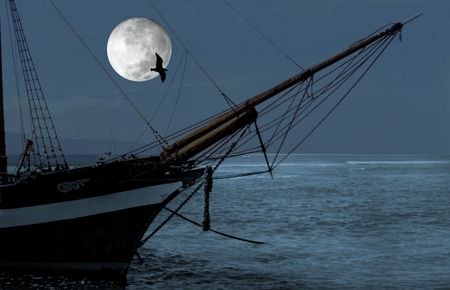 boat and moon Stock Photo