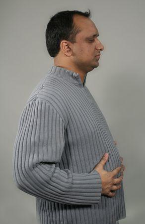 laxative: man bloated profile