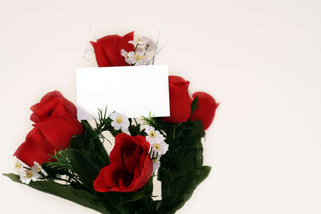 Valentines flowers isolated with card photo