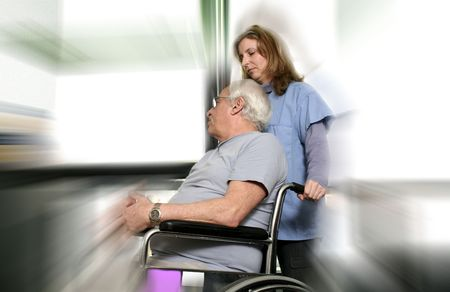 homecare: nurse and patient blured