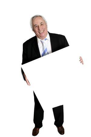 senior holding white board
