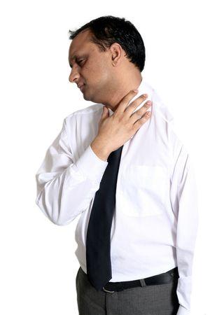 angor: homme de douleur au cou  Banque d'images