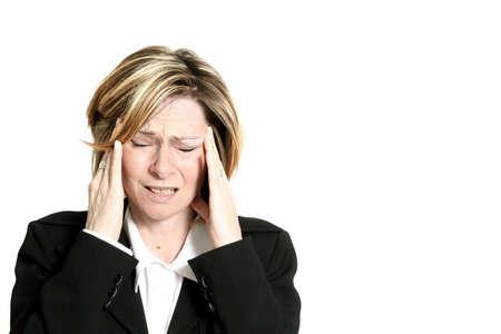 dolor de cabeza: Mujer de negocios con la migra�a