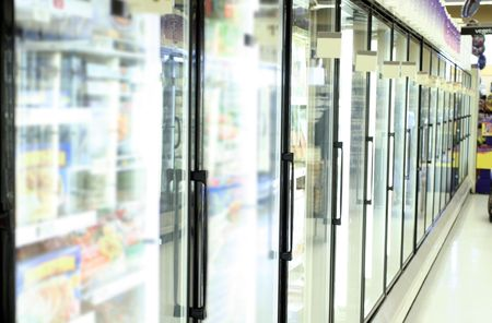 freezer in grocery store photo