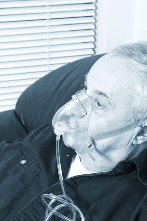 inhale: oxygen mask on senior blue tone