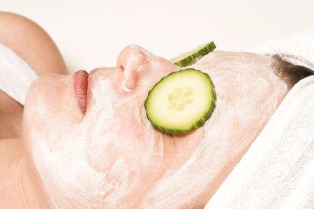 revitalizing: spa mask over white Stock Photo