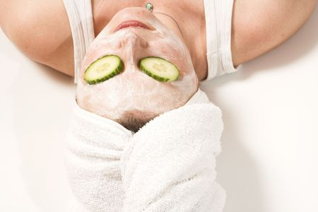spa mask over white Stock Photo