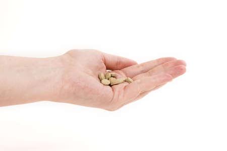 pills in hand over white Stock Photo - 388834