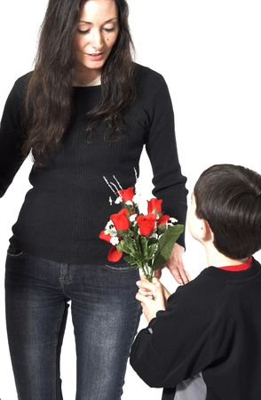 son offering flowers to her mom photo