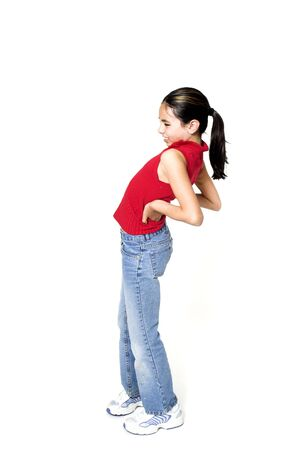 girl with backache over white