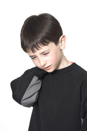 Junge Nackenschmerzen über White  Standard-Bild - 388771