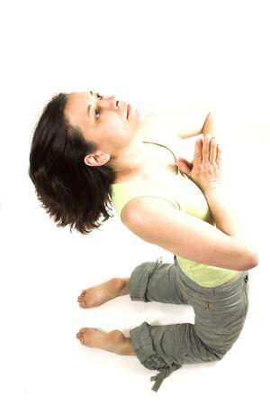 yoga pose over white
