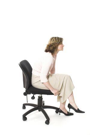 posture: woman sitting in bad posture