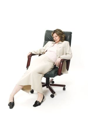 woman bad posture on office chair photo