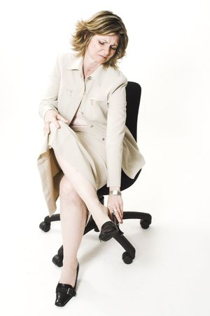business woman with tired legs
