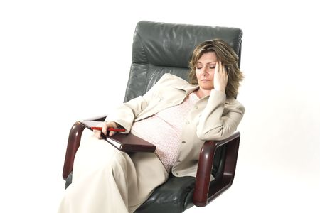 business woman tired on chair over white