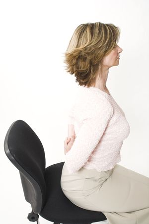 business woman back pain on chair Stock Photo - 407595