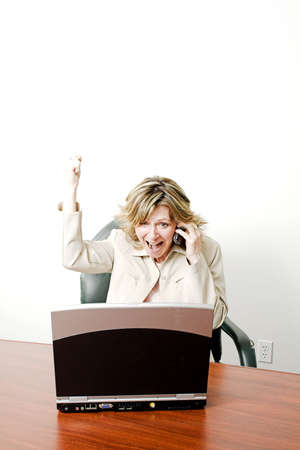 business woman happy on cellphone over white