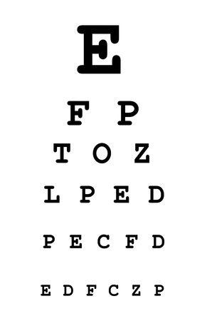 eye test: white eye test chart Stock Photo