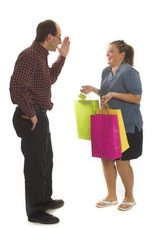 couple arguing over white background photo