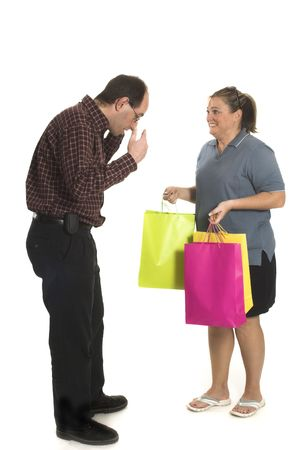 couple arguing over white background