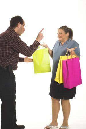 spending money: couple arguing  about spending money
