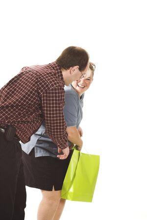 couple shopping over white background