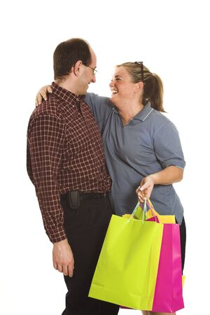 happy shoppers hugging photo