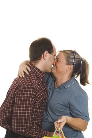 couple kissing over white background Stock Photo - 435503