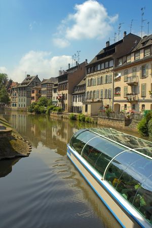 barge: barge on canal in strasbourg Stock Photo