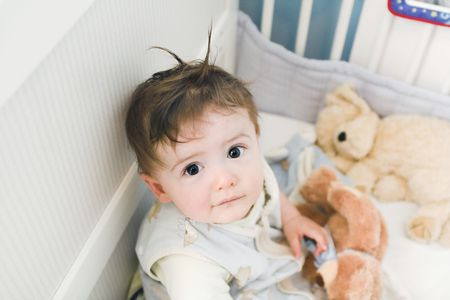 infant waking up Stock Photo