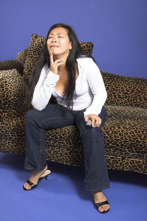 woman thinking on couch Stock Photo - 511962