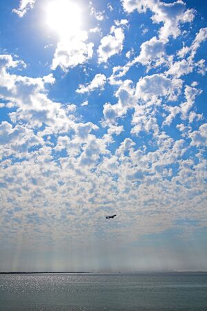 wide-angle shot of clouds and airplane photo