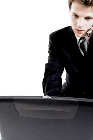 business man on cell phone over white Stock Photo