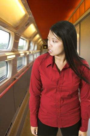 woman in high speed train in france photo