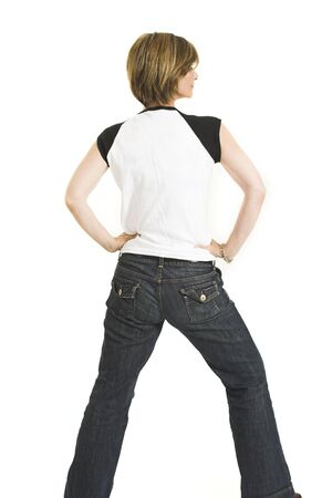 woman with white t-shirt turning her back over white background 스톡 콘텐츠
