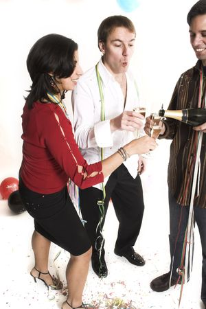 people standing drinking champagne over white background
