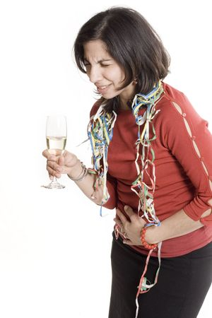 woman sick after partying over white background