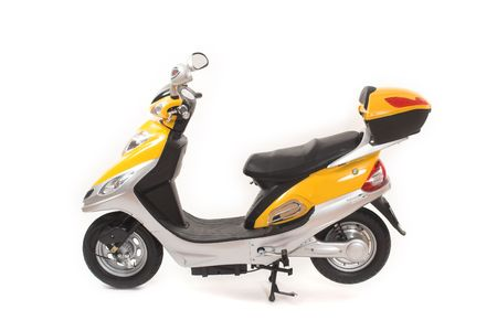 yellow electric scooter over a white background Stock Photo