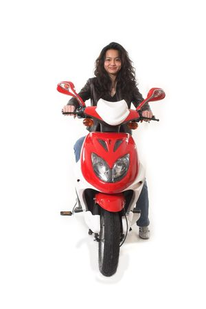 woman riding electric scooter over white background photo