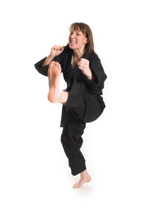 woman doing karate over white background Stock Photo - 882461
